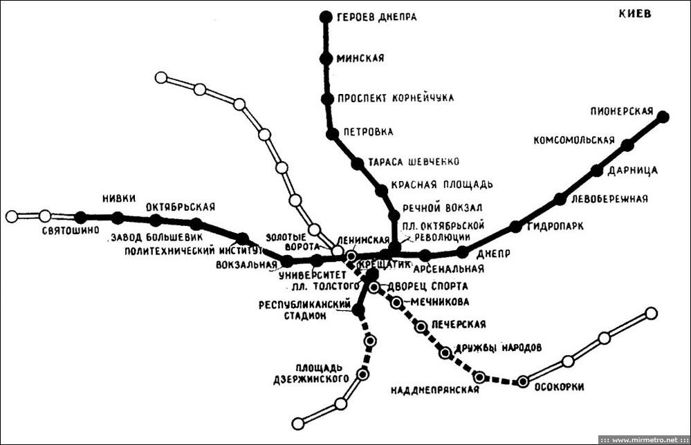 Схема линий 1982 года