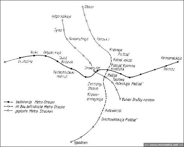 Схема линий 1975 года